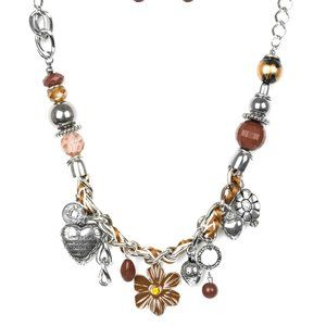NWT Charmed I Am Sure brown charm necklace set